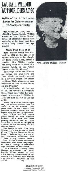 Laura Ingalls Wilder obit