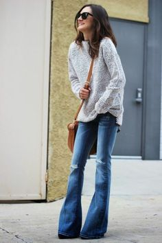 Jeans and bag again! Dying for a cross body brown hobo bag, and welcome back bell bottoms!