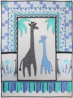"Giraffes Oh My, 44 x 60"", free pattern by Marinda Stewart for Michael Miller Fabrics (includes giraffe applique templates)"