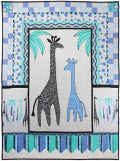 "Giraffes Oh My, 44 x 60"", free pattern by Marinda Stewart for Michael Miller Fabrics (includes giraffe applique templates)"