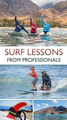 The instructors and founders of Rivers To The Sea are not only experienced, fun, and patient, but they're also some of our favorite people on the island. Operating from one of the best spots to learn on Maui's west side, this team of local Maui surfers deliver ALOHA and the love of the ocean and surfing to every beginner. #surfing #mauisurfing #mauisurflessons #leartosurf #surf #surfer #prosurfers #maui #hawaii #mauiactivities #mauisurfschools #surflessons Hawaii Surf, Hawaii Vacation, Hawaii Travel, Maui Activities, Travel Activities, Usa Travel Guide, Travel Usa, Professional Surfers, Pro Surfers