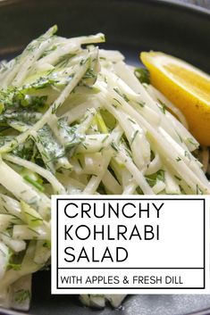 This simple kohlrabi salad is so easy and so refreshing. You can make it with just a few ingredients and it stays crunchy for days. If you're new to kohlrabi, this is a great place to start. This post also includes a great easy recipe for kohlrabi fries! Kohlrabi Recipes, Vegetable Recipes, Vegetarian Recipes, Healthy Recipes, New Recipes, Salad Recipes, Cooking Recipes, Easy Recipes, Healthy Salads