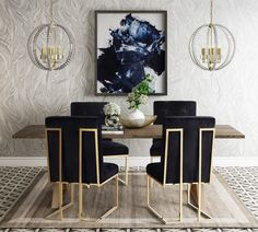 Solid Wood Dining Set, Modern Dining Table, Dining Room Sets, Dining Chair Set, Dining Room Design, Black Dining Room Table, Black Dining Set, Black Dining Room Furniture, Elegant Dining Room
