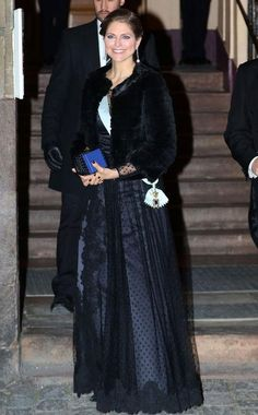 To celebrate a black-tie holiday party in Stockholm, Princess Madeleine wore a lacy Ida Sjosted gown.