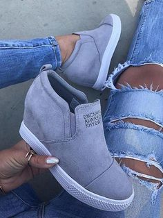 d2e5d30d2bc758 Fashion Letter Slip On Wedge Sneakers Faux Suede Wedge Heel Casual Sneakers