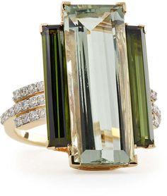 Ivanka Trump Empire 18k Gold Prasiolite, Tourmaline & Diamond Ring