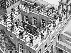 Escherslitho Klimmen en Dalen