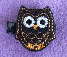Felt owl hair clip