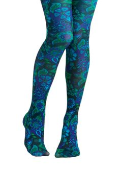 Under the Blacklight Tights by Look From London - Blue, Green, Floral, Party, Casual, Vintage Inspired, 60s, 70s, Statement