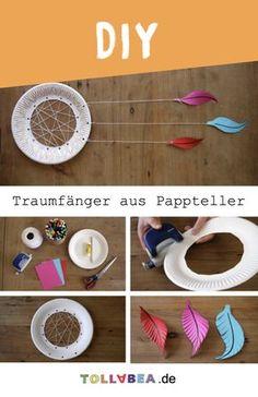 Basteln mit Papptellern: Wenn ihr euch so einen schönen Traumfänger basteln könnt, habt ihr nur noch gute Träume! Hier ist eine ganz einfache Baste-Anleitung!