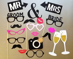 Bachelorette Party Photo Booth Prop Wedding Photo Booth Props Set of 15 Party Photo Frame, Wedding Photo Booth Props, Photo Props, Moustaches, Valentines Photo Booth, Bride With Glasses, 25th Anniversary Gifts, Anniversary Games, Holiday Photos