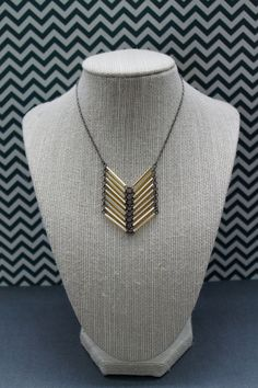 short gold chevron necklace by girlsewcute on Etsy