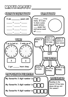 Back to school resource Math about me poster. Great way to get to know your pupils and their basic maths abilities. Asks questions using basic addition, subtraction, multiplication and division. Looks at basic visual fractions, telling digital and analogu...