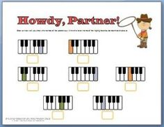 This one has a fun cowboy theme and helps kids learn the names of the keys. This one has a fun cowboy theme and helps kids learn the names of the keys. Beginner Piano Lessons, Music Lessons, Violin Lessons, Music Theory Worksheets, Piano Classes, Piano Teaching, Learning Piano, Learning Theory, Piano Keys