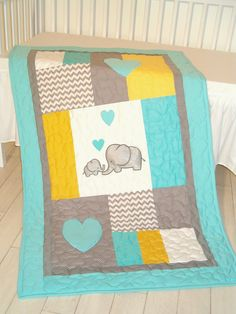 Elephant Blanket, Elephant Quilt Blanket, Aqua Gray Chevron Baby Patchwork Blanket A brand new colour combination of the elephant blankets, a