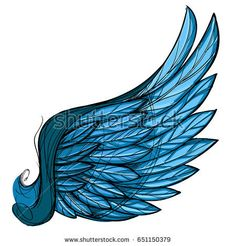 Vector illustration of blue wing, isolated on white background. Design element for emblem, sign and more.