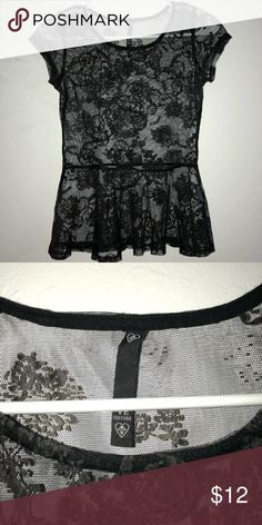 1ba0d18691eb Mesh top This is a complete mesh black top with floral detailing. The  floral parts