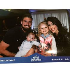 Olivier Giroud & his family : wife Jennifer and kids Jade and Evan.