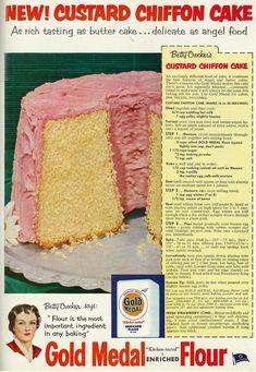 1953 Food Ad, General Mills' Betty Crocker Gold Medal Flour, with Custard Chiffon Cake Recipe by Classic Film Retro Recipes, Old Recipes, Vintage Recipes, Cooking Recipes, Victorian Recipes, Cooking Cake, Drink Recipes, Vintage Baking, Vintage Food