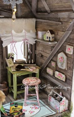 Cinderella Moments: garden shed Miniature Rooms, Miniature Crafts, Miniature Houses, Miniature Furniture, Dollhouse Furniture, Diy Dollhouse, Dollhouse Miniatures, Dollhouse Design, Nim C