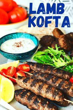 Lamb Kofta Recipe - Peter's Food Adventures Ground Lamb, Summer Barbecue, Pita Bread, Fabulous Foods, Mediterranean Recipes, Bbq Grill, Skewers, Coriander, Steak