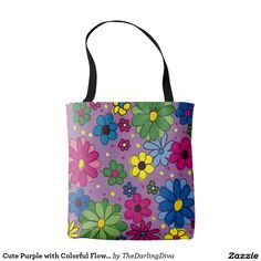 Cute Purple with Colorful Flowers Tote Bag
