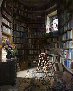 @botanicaetcetera  Books No.1. The writing room in the tower at Sissinghurst Castle, Kent, England #Sissinghurst #castle #england #kent #books #library #antiques #lifestyle #interiordecor #lux #interiordesign #ladder #tower #luxury #lifestyle #living #heritage #statelyhome #decor #design #grand #rustic #literary #old #wealth #elegant