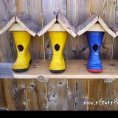 Boot Repurposed Into A Cute Birdhouse  See more details here ->  http://goo.gl/gYGb5X - Home Design - Google+