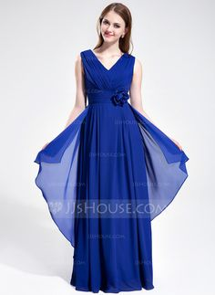 - $116.99 - A-Line/Princess V-neck Floor-Length Chiffon Bridesmaid Dress With Ruffle Flower(s) (007025360) http://jjshouse.com/A-Line-Princess-V-Neck-Floor-Length-Chiffon-Bridesmaid-Dress-With-Ruffle-Flower-S-007025360-g25360