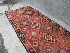 LARGE TURKISH KILIM RUG, 13 X 6.5 Feet