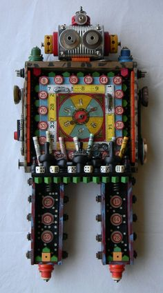 Recycled art assemblage     CHANCE    Original by redhardwick, a game robot. Crazy wonderful!