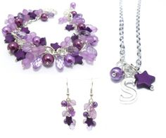 GIFT SET Personalised Initial Necklace with Matching Earrings & Charm Bracelet, Purple Bracelet, Purple Necklace, Purple Earrings