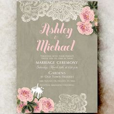 Shabby Chic wedding Invitation - Lace wedding Invitation, peony flowers wedding invitation, rustic wedding, cottage wedding, blush wedding
