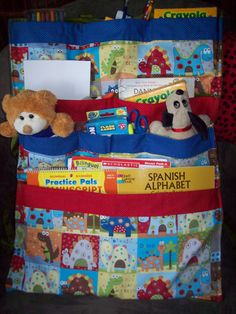 Keep your kids busy in the car with this handy organizer. A variety of different sized pockets are perfect for carrying books, video games, toys and all of the other things your kids love to use in the car. Its perfect for long summer trips, or just running errands at any time. Taking customer orders