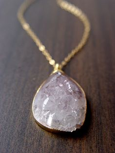 Lavender pink druzy 24 karat gold pendant necklace