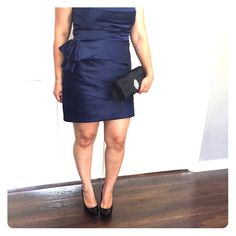 Cocktail dress Navy blue satin cocktail dress without sleeves. (Tube dress.) worn once. Comes with free clutch as pictured. Clutch has a chain handle as well. (Runs small, will fit true 10) Max & Cleo Dresses