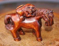 Vintage Wood Netsuke Dark Wood Hand Carved Japanese Monkey Riding Horse Ornament Pendant c1940s - signed by GillardAndMay on Etsy