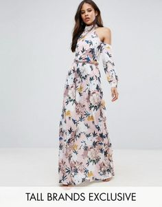 TTYA Black High Neck Cold Shoulder Maxi Dress With Pleated Waist Detail In Large Scale Floral Print. | dresslover.co.uk