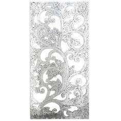 Ornate hand-carved wood cutwork is overlaid with a mosaic of mirrored tile in this glittering realization of every wall& dreams. If your walls could talk, they& thank you. Mosaic Wall Art, Mirror Mosaic, Wood Home Decor, Diy Wall Decor, Silver Wall Decor, Gray Decor, White Decor, Mirror Panel Wall, Mirror Ideas