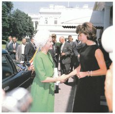 Jacqueline Kennedy welcomes Princess Grace of Monoco to the White House on May 24, 1961.
