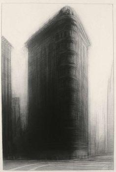 Columbus Avenue, 37'' x 27'', charcoal on paper, 1987