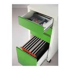MICKE Drawer unit/drop file storage - white/green - IKEA: If you need a file drawer in the music room rather than just shallow drawers for office supplies. Also comes in black/brown and white.