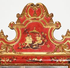 A Striking Pair of Late Century Italian Parcel Gilt and Polychrome Red Lacquer Chinoiserie Mirrors No. 4608 - C. Mariani Antiques, Restoration & Custom, San Francisco, CA.