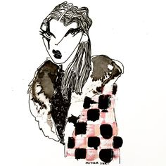 « Checked fur ◻️◼️◻️◼️◻️◼️ at the @marcjacobs show @themarcjacobs  #highfashion #art #instaart #fashionillustration #fashion #blackandwhite #ink #draw#ing… »