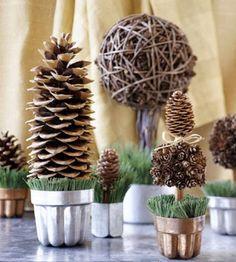 idées de décoration automnale en pommes de pins