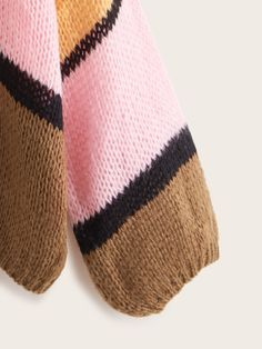 Plus Colorblock Chunky Knit Cardigan , Plus Size Cardigans, Chunky Knit Cardigan, Spring And Fall, Casual Boots, Color Blocking, Fashion Accessories, Winter Hats, Style Inspiration, Shoulder Bag