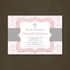 Printable Christening Baptism or First Communion Invitation, Pink Damask, Cross, Religious Invitation, Christening, Communion, Elegant