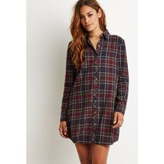 Forever 21 Plaid Flannel Shirt Dress (1,050 PHP) ❤ liked on Polyvore