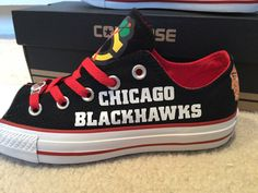 Chicago Blackhawks Custom Made Converse Chuck Taylor Sneakers NHL by PimpMyKickz on Etsy https://www.etsy.com/listing/254766655/chicago-blackhawks-custom-made-converse