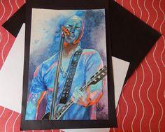 Chris Daughtry - Releitura de foto (aquarela) do vocalista da banda Daughtry / frontman of the rock band Daughtry (watercolor)